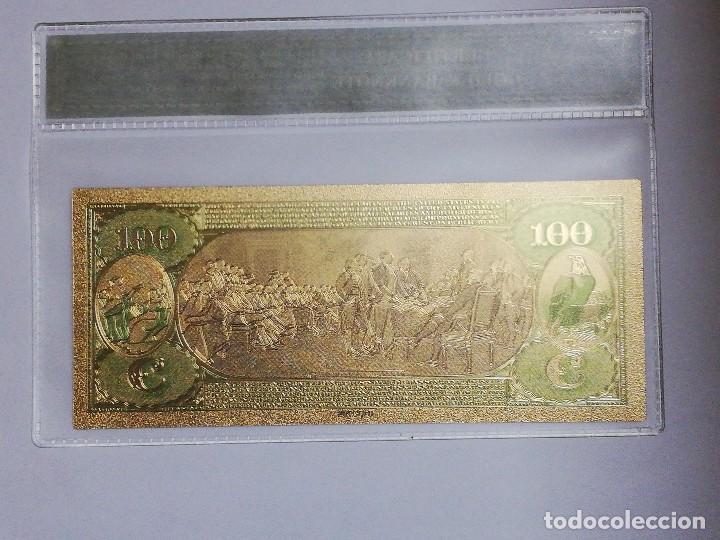 Billetes extranjeros: Billete 100 dolares en lamina dorada con funda - Foto 2 - 237555640