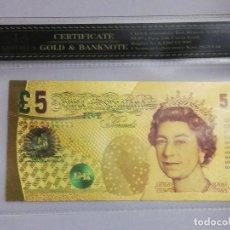 Billetes extranjeros: BILLETE 5 LIBRAS EN LAMINA DORADA CON FUNDA. Lote 237556020