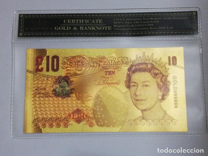 BILLETE 10 LIBRAS EN LAMINA DORADA CON FUNDA (Numismática - Notafilia - Billetes Internacionales)