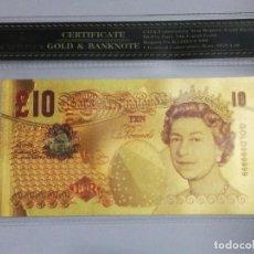 Billetes extranjeros: BILLETE 10 LIBRAS EN LAMINA DORADA CON FUNDA. Lote 237556845