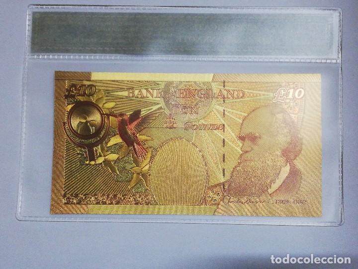 Billetes extranjeros: Billete 10 libras en lamina dorada con funda - Foto 2 - 237556845