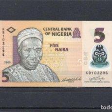 Banconote internazionali: NIGERIA 2009, 5 NAIRA, POLIMERO, P-38A, SC-UNC, 2 ESCANER. Lote 237621655
