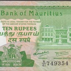 Billetes extranjeros: BILLETES - MAURICIOS - 10 RUPIAS (1985) - SERIE A/68-876217 - PICK-35B (SC). Lote 295742953
