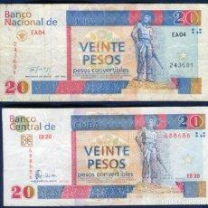 Billetes extranjeros: CUBA - 2 BILLETES DE 20 PESOS CONVERTIBLES AÑOS 1994 Y 2006. Lote 238082670