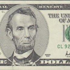 Billetes extranjeros: BILLETES - UNITED STATES-ESTADOS UNIDOS - 5 DOLLARS - 2001 SERIE CL 92486891 A.-L12 - PICK-510 (SC-). Lote 238234205
