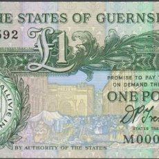 Billetes extranjeros: BILLETES - GUERNSEY - 1 LIBRA 1991 - SERIE M000592 Nº BAJO - PICK-52B FIRMA: D.P. TRESTAIN (SC). Lote 238325805