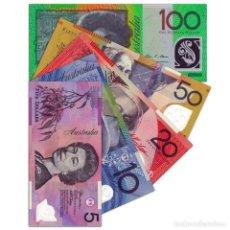Billetes extranjeros: AUSTRALIA FULL SET 5 PCS 5 10 20 50 100 DOLLARS 2007 2014 P 57-61 POLYMER UNC. Lote 239431080