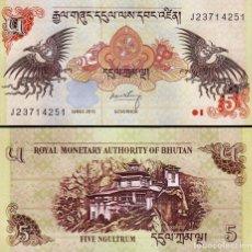 Billetes extranjeros: BHUTAN 5 NGULTRUM 2015 P 28 NEW DATE UNC. Lote 239543355