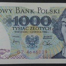 Billetes extranjeros: BILLETE DE POLONIA 1000 ZLOTYCH AÑO 1982. Lote 239933720