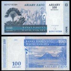 Billetes extranjeros: MADAGASCAR 100 ARIARY 2004 (2016) P 86 NEW SIGN UNC. Lote 240279410