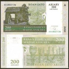 Billetes extranjeros: MADAGASCAR 200 ARIARY 2004 P 87 UNC. Lote 240280400