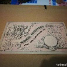 Billetes extranjeros: AUTENTICO BILLETE ITALIANO 50 LIRAS (VENECIA) 1848. Lote 240350570