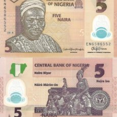 Billetes extranjeros: NIGERIA 5 NAIRA 2018 P 38I POLYMER UNC. Lote 240387790