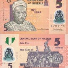 Billetes extranjeros: NIGERIA 5 NAIRA 2019 P NEW POLYMER UNC. Lote 240387830