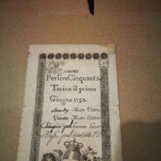 Billetes extranjeros: BILLETE 50 LIRAS REINO DE TURÍN 1794 AUTENTICO. Lote 240506455