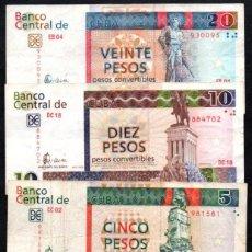 Billetes extranjeros: CUBA - SERIE 5 BILLETES DE 1, 3, 5, 10 Y 20 PESOS CONVERTIBLES AÑO 2006. Lote 240628485