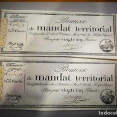 Billetes extranjeros: PAREJA CORRELATIVA DE AUTENTICOS BILLETES FRANCESES DEL SIGLO XVIII 25 FRANCOS 1796. Lote 240727275