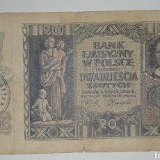 Billetes extranjeros: B-43 BILLETE POLACO 20 ZLOTYCH 1940 OCUPACION NAZI. CON RESELLOS. Lote 241143950
