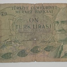 Billetes extranjeros: BILLETE TURCO 10 LIRAS TURCA AÑO 1930. EL DE LA FOTO. Lote 241320095