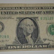 Billetes extranjeros: B-4 ESTADOS UNIDOS BILLETE 1 DOLAR USA 1963A. PRIMERA EMISION DEL FORMATO ACTUAL. Lote 241322480