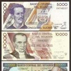 Billetes extranjeros: ECUADOR. ULTIMA EMISION DE SUCRES. 4 VALORES 12.7.1999. S/C. 5000, 10000, 20000, 50000 SUCRES.. Lote 262004835