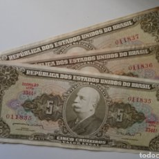 Billetes extranjeros: BILLETES DE BRASIL . TRIO CORRELATIVOS 5 CRUZEIROS SE MANDAN LOS DE LA FOTO. Lote 242126280