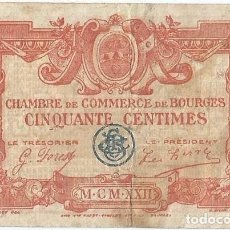 Billetes extranjeros: FRANCIA - FRANCE 50 CÉNTIMES 1917 BOURGES. Lote 243009245