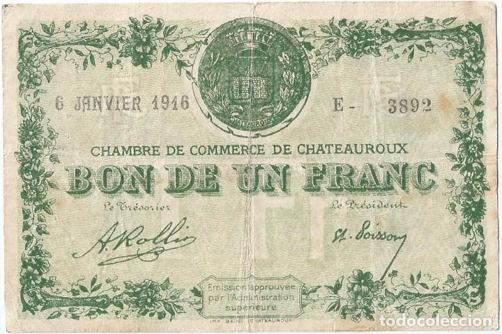 FRANCIA - FRANCE 1 FRANC 6-1-1916 CHATEAUROUX (Numismática - Notafilia - Billetes Internacionales)