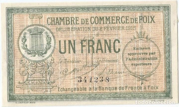 FRANCIA - FRANCE 1 FRANC 2-2-1915 FOIX SIN CIRCULAR (Numismática - Notafilia - Billetes Internacionales)