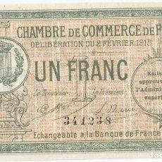 Billetes extranjeros: FRANCIA - FRANCE 1 FRANC 2-2-1915 FOIX SIN CIRCULAR. Lote 243041155