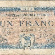 Billetes extranjeros: FRANCIA - FRANCE 1 FRANC 23-9-1917 TARBES. Lote 243048610