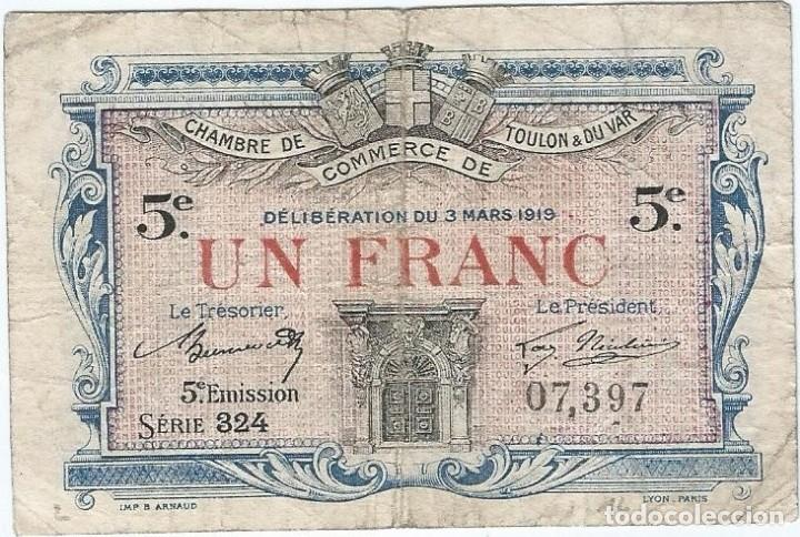 FRANCIA - FRANCE 1 FRANC 3-3-1919 TOULON (Numismática - Notafilia - Billetes Internacionales)