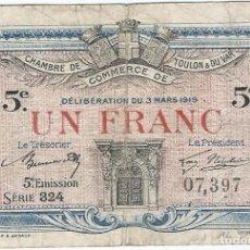 Billetes extranjeros: FRANCIA - FRANCE 1 FRANC 3-3-1919 TOULON. Lote 243050610
