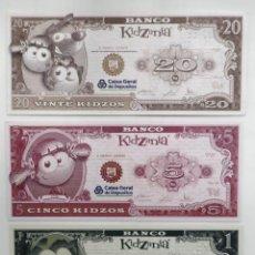 Billetes extranjeros: LOTE DE 3 BILLETES DE BANCO KIDZANIA, PORTUGAL. CAIXA GERAL DE DEPÓSITOS. 1, 5 Y 20 KIZDO. AÑO 2009. Lote 243069065