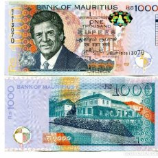 Billetes extranjeros: MAURITIUS 1000 1,000 RUPEES 2017 P 63 NEW DATE & SIGN UNC. Lote 243519315