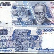 Billetes extranjeros: MEXICO 20000 20,000 PESOS 1985 P 91A SERIE A UNC. Lote 243519495
