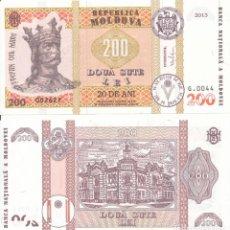 Billetes extranjeros: MOLDOVA 200 LEI 2013 P 20 COMM. 20TH ANIVERSARY OF LEU CURRENCY UNC. Lote 243519600
