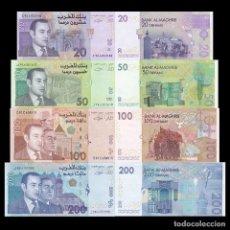 Billetes extranjeros: MOROCCO SET 4 PCS 20 50 100 200 DIRHAMS 2002 2005 P 68 69 70 71 UNC. Lote 243519695