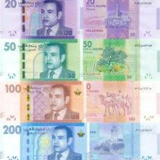 Billetes extranjeros: MOROCCO SET 4 PCS 20 50 100 200 DIRHAMS 2012 2013 P 74 75 76 77 UNC. Lote 243519730