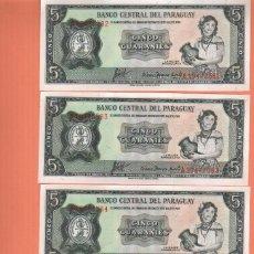 Billetes extranjeros: PRECIOSO LOTE DE 4 BILLETES PLANCHA PARAGUAY 5 GUARANIES COMO LOS DE LA FOTO. Lote 243551925