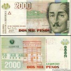 Billetes extranjeros: COLOMBIA - 2000 PESOS DE 2004 - SIN CIRCULAR. Lote 269350033