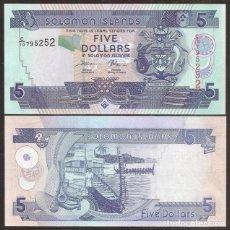 Billetes extranjeros: ISLAS SALOMON (SOLOMON). 5 $ S/F. PREFIJO C/10. S/C. VER FIRMAS.. Lote 243864345