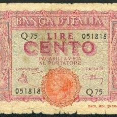 Billetes extranjeros: CMC ITALIA (ITALY) 100 LIRAS 1944 PICK 75-A BC-. Lote 243879360