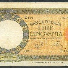 Billetes extranjeros: CMC ITALIA (ITALY) 50 LIRAS 1938 PICK 54-B MBC. Lote 243880950