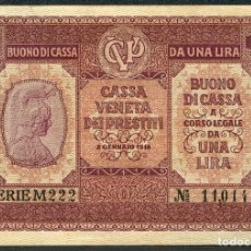 Billetes extranjeros: CMC ITALIA (ITALY) 1 LIRA 1918 PICK M4 MBC. Lote 243881660