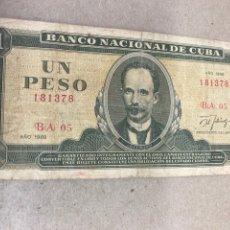 Billetes extranjeros: BILLETE UN PESO CUBA 1998. Lote 244505225