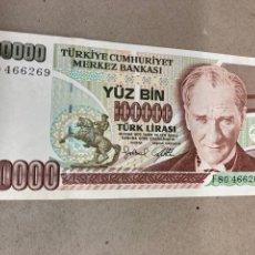 Billetes extranjeros: BILLETE 100000 LIRAS TURK 1970. Lote 244509930