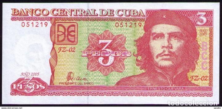 Billetes extranjeros: CUBA 3 PESOS 2005 REMPLAZO PLANCHA SC-UNC SECUENCIA PICK 127BR - Foto 3 - 244814115