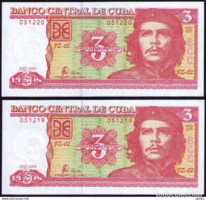 CUBA 3 PESOS 2005 REMPLAZO PLANCHA SC-UNC SECUENCIA PICK 127BR (Numismática - Notafilia - Billetes Internacionales)