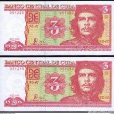 Billetes extranjeros: CUBA 3 PESOS 2005 REMPLAZO PLANCHA SC-UNC SECUENCIA PICK 127BR. Lote 244814115